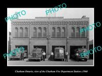 OLD LARGE HISTORIC PHOTO OF CHATHAM ONTARIO, THE FIRE DEPARTMENT STATION c1960