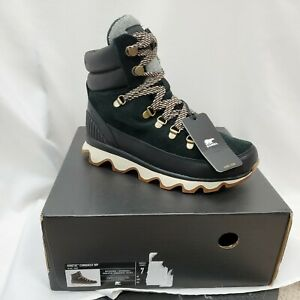 Sorel Womens Kinetic Conquest Boots Size 7 Black Waterproof Insulated Bootie