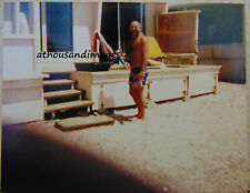 Vtg 80's Photo of Mature Shirtless Hairy Chest Guy/Man In Yard Smiling  S40