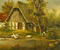 von Papen (XX) - EDEL-Gemälde. BAUERNHOF, MÄDCHEN SPIELT MIT GÄNSEN AM TEICH