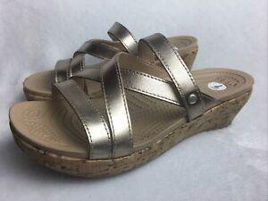 Crocs Women's Size 7 Platform Slides Sandals Gold Strappy Cork Wedge Heels EUC