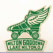 MILTON GARDENS ROLLER RINK Original 1950s Skating Sticker LAKE MILTON, OHIO