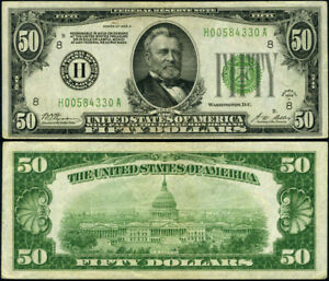 FR. 2101 H $50 1928-A Federal Reserve Note St. Louis H-A Block DGS VF