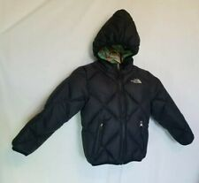 The North Face Girls Kid Coat Down 550 Reversible Black Green Plaid Xs/Tp Puffer