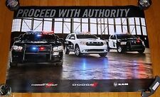 "NEW DODGE CHARGER RAM DURANGO POLICE HEMI PROCEED W/ AUTHORITY 36"" x 24"" POSTER!"
