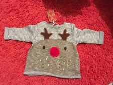 New NEXT Baby Boy Christmas Reindeer Jumper Size up to 3 months