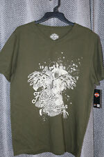 "Harley Davidson XL Slim Fit Men's Tee ""Free Spirit""; Olive Green; From Japan NWT"