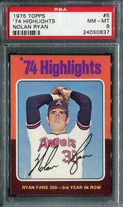 1975 Topps #5 '74 Highlights Nolan Ryan PSA 8 NM-MT