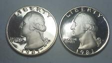 "1981 S Washington Quarter Type 1 Filled ""S"" Deep Cameo Proof 2 Coin Set BU"