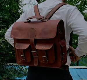 Handmade Genuine Leather Vintage Laptop Messenger Briefcase Satchel Backpack Bag