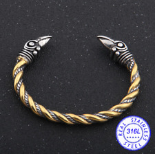 Ravens of Odin Viking Bracelet -Titanium Steel | Norse Arm Ring | Viking Jewelry