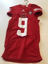 Game Worn Used Miami Red Hawks Football Jersey Adidas Med 1AC #9