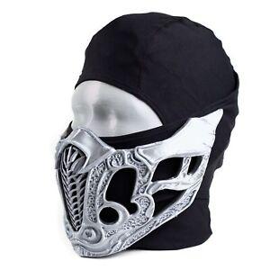 Mortal Kombat Sub Zero Mask (3D Printed - Metallic Silver Plastic)