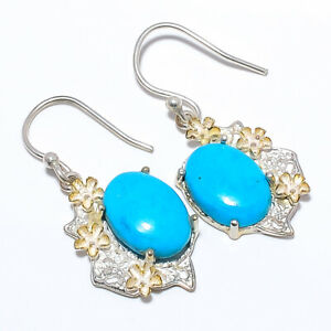 """Magnesite Turquoise Gemstone 925 Sterling Silver Earring 1.4"""" S192"""