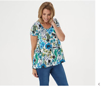 Isaac Mizrahi Live! Botanical Floral Printed Hi-Low Hem Knit Top Blue Medium