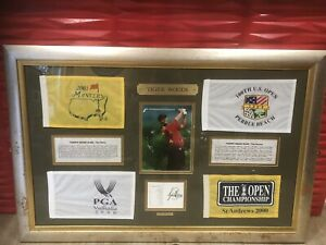Tiger Woods Signed And Framed With 4 Flags