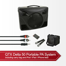 QTX Delta 50 Portable PA Sound System Bluetooth USB inc 2x Wireless Mic