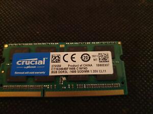 Mémoire CRUCIAL 8GB RAM PC3L DDR3L-1600 1.35v CL11 CT102464BF160B.C16FND 1811