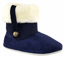Ladies Womens Coolers Fur Lined Ankle BOOTS Slip on Bootee Slippers Shoes Size Blue M (uk 4/5)
