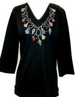 PLUS 3X Knit Top Embellished Rhinestone & Stud Christmas Lights & Ornaments