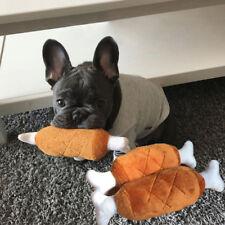 1Pc Pet Puppy Dog Cat Squeaker Squeaky Sound Chew Plush Chicken Leg Bone Toys H7