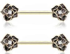 body Jewelry Pair sold as pair Body Accentz Nipple Ring Rose Flower barbell