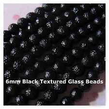 96 Glass Beads 6mm Textured Black Beads Jewelry Bumpy Spacer Round  Beads