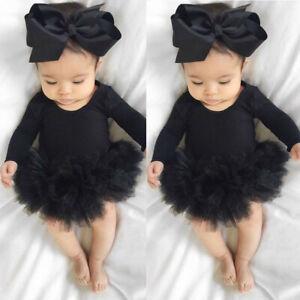 Infant Newborn Baby Girl Tulle Tutu Romper Bodysuit Clothes Headband Outfits Set