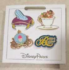 Disney Parks Authentic 2017 Cinderella 4 Pin Themed Set on Card