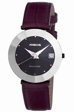 Jowissa Women's J5.258.XL Pyramid Black PVD Coated SS Purple Leather Date Watch