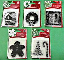 Inkadinkado Clear Mini Stamps Set of 5 Santa Wreath Gingerbread Man Snowman  NEW