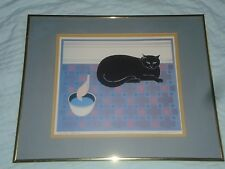 "WILL BARNET HAND SIGNED ARTIST PROOF ""Cat and Canary"" LITHOGRAPH DOUBLE MATTED"