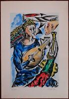 Mauro Capitani Musicista litografia acquerellata 70x50 firmata a lapis