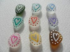 Set of 9 dotty rainbow hearts - Hand painted sea glass fridge magnets
