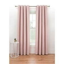 """Eyelet Pink Textured Weave Fully Lined Curtains W66"""" x D90"""""""