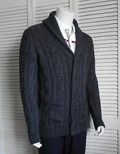NEW Mens SIZE 2XL ALPACA Dark Gray Shawl Collar Knit Cable Cardigan Sweater PERU