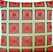 Red Squares Cushion Cover Osborne & Little Woven Fabric Gold Brown Checks 16""