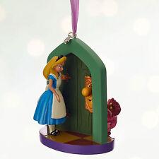 Disney Store Alice in Wonderland & Cheshire Cat Christmas Ornament Figure NWT