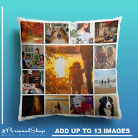 Personalised Photo Pillowcase Cushion Pillow Insert with Filling Up to 13 Pics