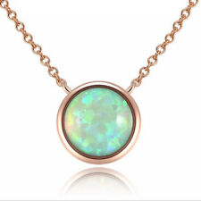 Newest Valentine's Classical Green Fire Opal Rose Gold Plated Chaming Necklace