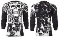 ARCHAIC by AFFLICTION Mens LONG SLEEVE THERMAL Shirt KILLROY Skull Biker $58
