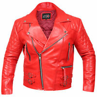 Men's Vintage Motorcycle Red Classic Real Leather Brando Quilted Biker Jacket