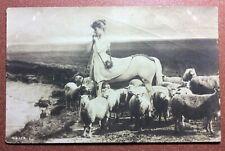 Tsarist Russia postcard 1909s Mysterious girl - Centaur. Friends sheep. Magic