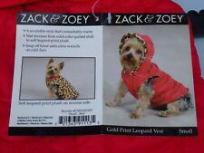 DOG/Pet GOLD PRINT LEOPARD VEST w hood REVERSIBLE by Zack & Zoey size Medium NWT