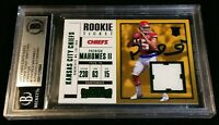 1/1 BGS RC AUTO PATRICK MAHOMES II *2017 Contenders *GREEN FOIL ROOKIE JSY PATCH