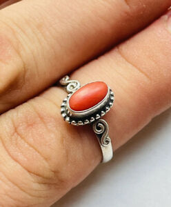Vintage silver and natural coral ring UK size N
