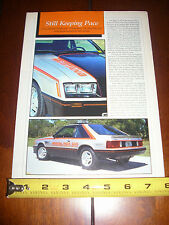 1979 FORD MUSTANG INDY INDIANAPOLIS 500 PACE CAR  - ORIGINAL 1991 ARTICLE