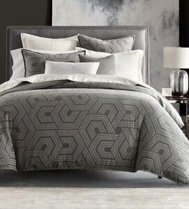 Hotel Collection Hexagon King Sham Grey Geometric Textured