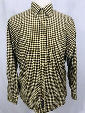 Duck Head Apparel Co Mens Long Sleeve Button Front Shirt LARGE Yellow Circle PRT