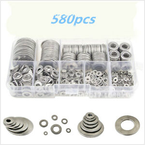 580pcs Stainless Steel Washers Metric Flat Washers Screw Accessories Set Silver
